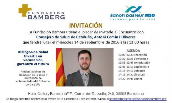 Invitación Encuentro Conseller de Salut de Catalunya, Antoni Comín